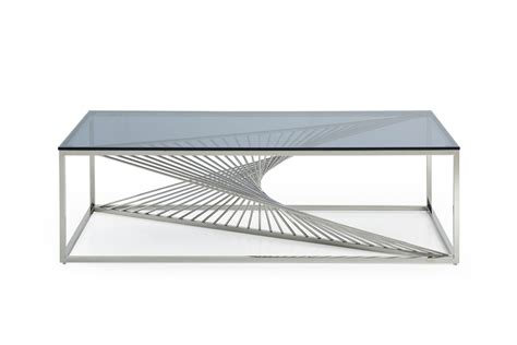 contemporary glass coffee tables modrest trinity modern glass stainless steel coffee table
