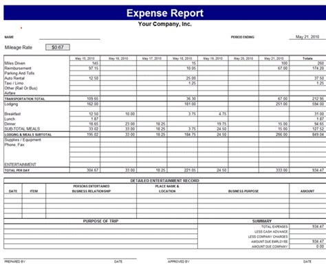 expense report template report templates ms office