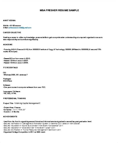 resume format  freshers resume format