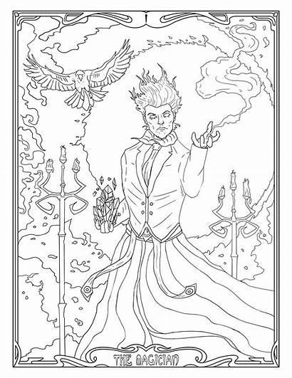 Coloring Magic Tarot Magician Printable Nouveau Adult