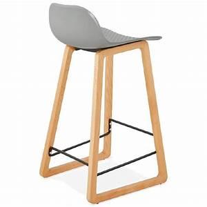 Chaise Mi Hauteur : tabouret de bar chaise de bar mi hauteur scandinave scarlett mini gris clair ~ Teatrodelosmanantiales.com Idées de Décoration