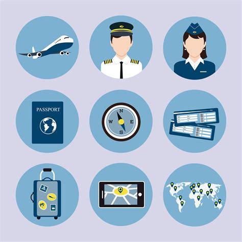 airline icons set   vectors clipart graphics vector art
