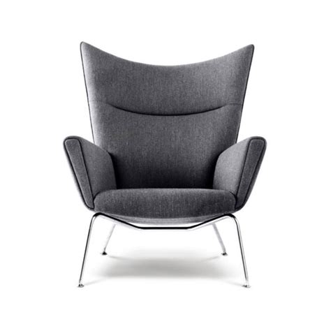 hans wegner ch445 wing lounge chair with charcoal wool