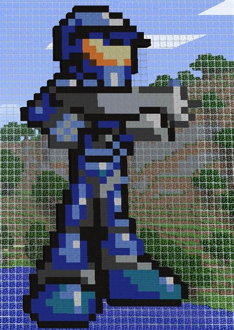 Blue Master Chief Pixel Art Minecraft Project