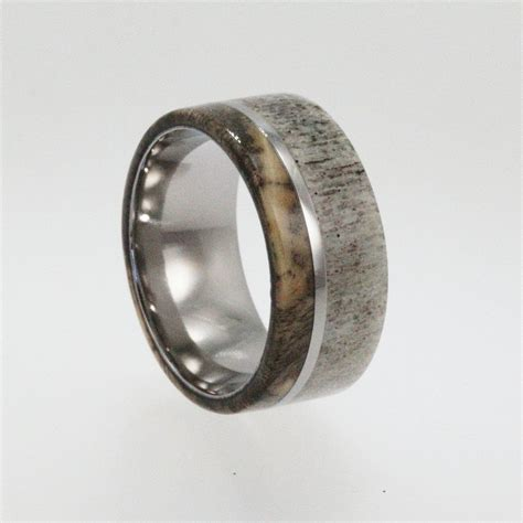 titanium ring  buckeye burl wood  deer antler inlay