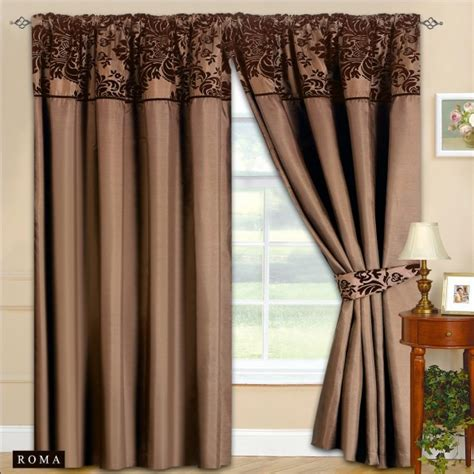 new fully lined ready made top curtains chocolate