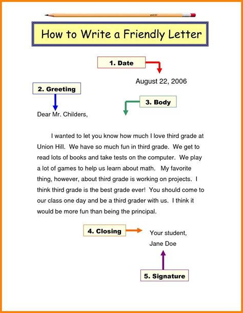 Me Format by Friendly Letter Format Grade 3 Best Letter Writing Format