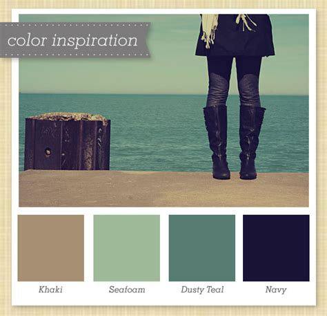 khaki sea foam dusty teal and navy color palette 4