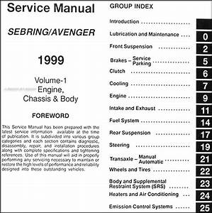 1999 Chrysler Sebring Dodge Avenger Repair Shop Manual