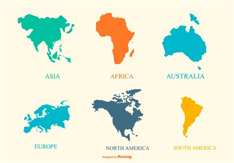 continent map collection   vector art stock