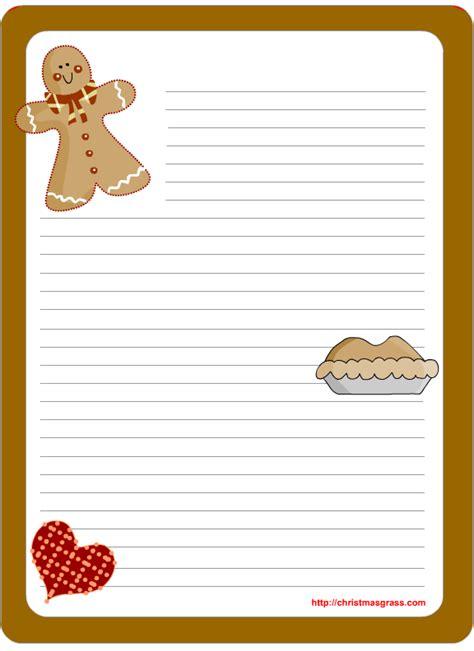 printable christmas stationery  gingerbread man