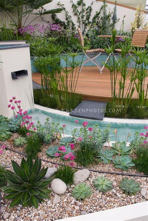 waterfall  modern water garden  raised beds
