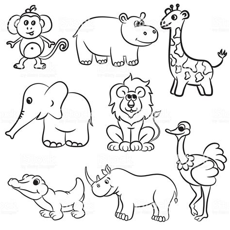 cute outlined zoo animals collection stock vector art
