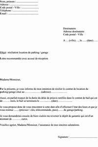 Resiliation Contrat Auto : mod le de lettre demande r siliation contrat de location d une place de parking ou garage ~ Gottalentnigeria.com Avis de Voitures