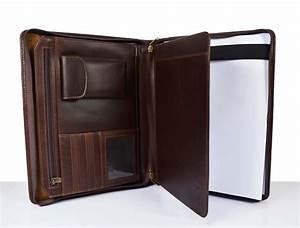 a4 size dark brown leather portfolio document folder With portfolio for documents