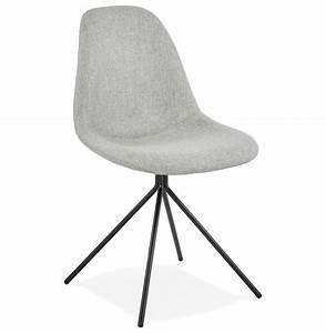 Chaise Pied Metal Noir : chaise design tamara en tissu gris avec pied en m tal noir ~ Teatrodelosmanantiales.com Idées de Décoration