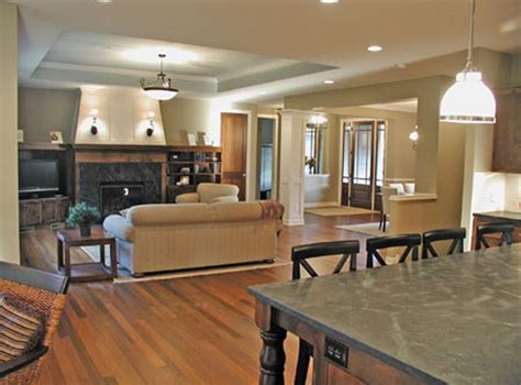 open floor plan tray ceiling designate great room plan house plans