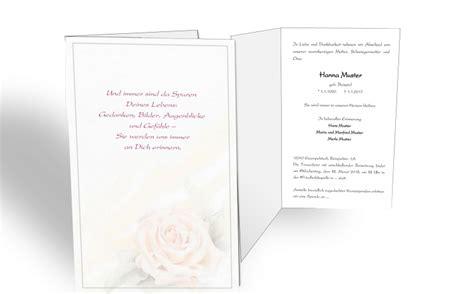 traueranzeige rose pastell klappkarte einladung trauerfeier