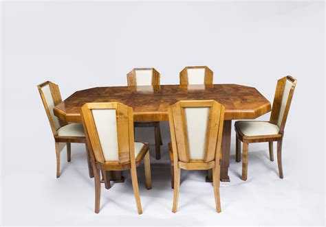 antique deco burr walnut dining table 6 chairs c1930