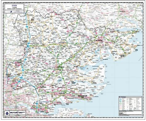 Essex County Map - Paper, Laminated or Mounted on Pin ...