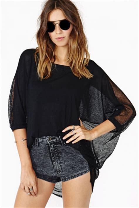 Black Long See Through Batwing T shirt Top Batwing Tops