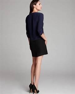 Miller Size Chart Dress Eileen Fisher Ballet Neck Color Block Dress In Blue Lyst