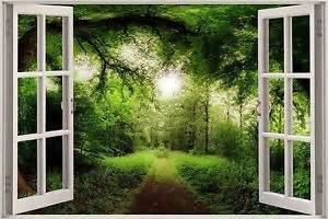 3d effect window view tree nature forest road sticker wall poster vinyl ga1 150 ebay