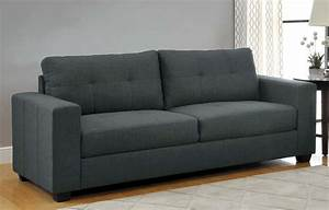 116600 ashmont modern 2pc sofa set in dark grey linen for Modern contemporary linen sectional sofa with