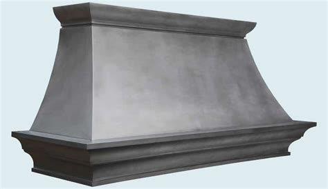 Custom Zinc Range Hood With Outswept Crown & French Band