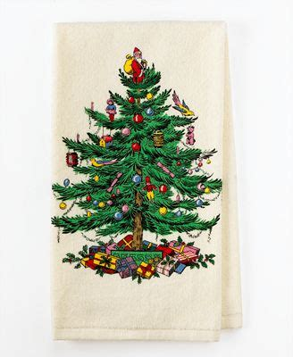 spode christmas tree kitchen towel table linens dining entertaining macy s