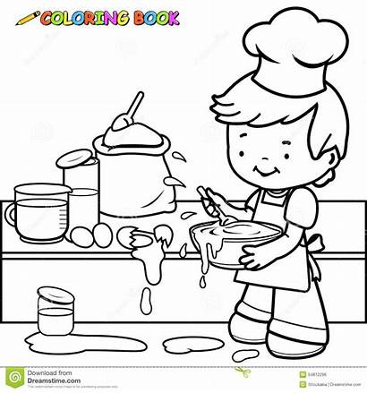 Cooking Coloring Mess Boy Kitchen Outline Making