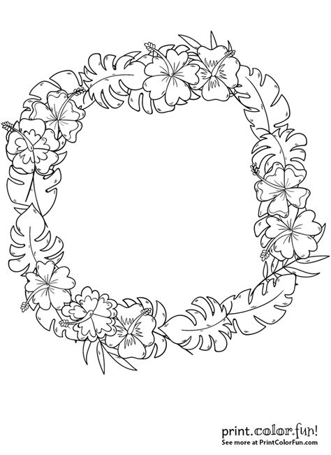 wreath  tropical flowers coloring page print color fun
