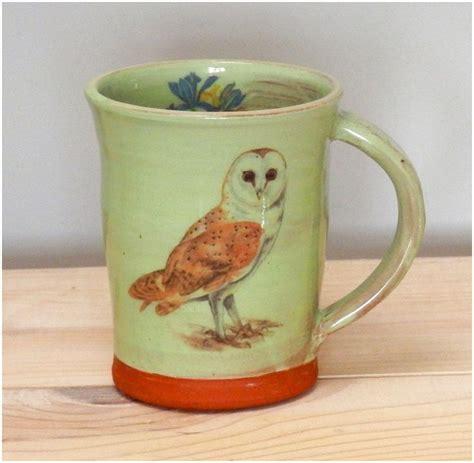 This handmade pottery mug was thrown on a pottery wheel. Barn Owl Bird mug - bird mug - iris mug - handmade mug - illustrated mug - pottery mug - mugs ...