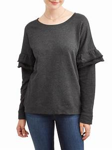 Women's French Terry Pullover with Ruffle Sleeve - Walmart.com