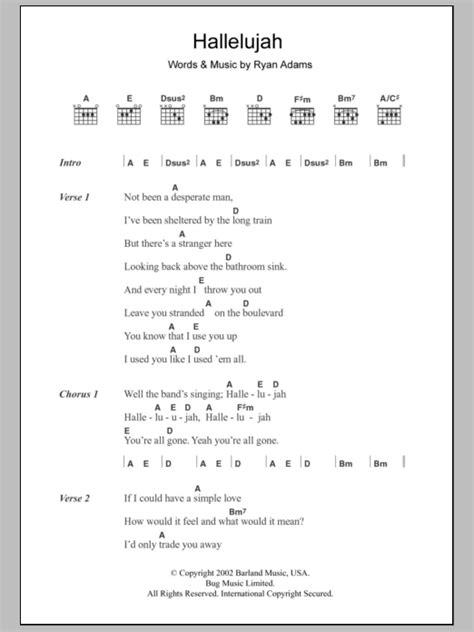 hallelujah chords lyrics guitar music ryan adams sheet tab leonard song print musicaneo most interactive accurate score