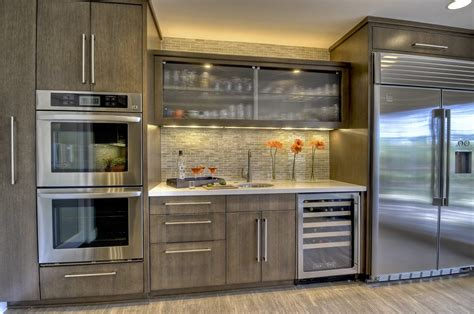 Kitchen Metal Backsplash Ideas - kitchen bar cabinet contemporary with beverage cooler southwestern serving trays