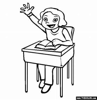 Class Participation Coloring Raise Hand Pages Students