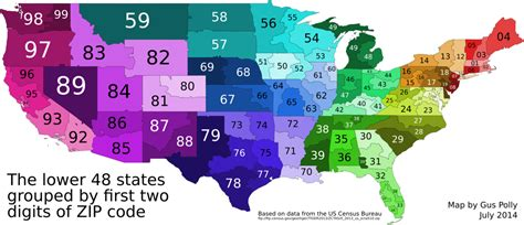 digit zip code map united states