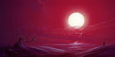 Illustration, Fantasy Art, Sunset, Bonsai, Sun, Red