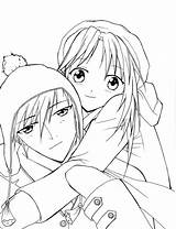 Coloring Anime Couple Romantic Pages Cute Couples Hugging Print Printable Easy Template Getcolorings Sketch Sky sketch template