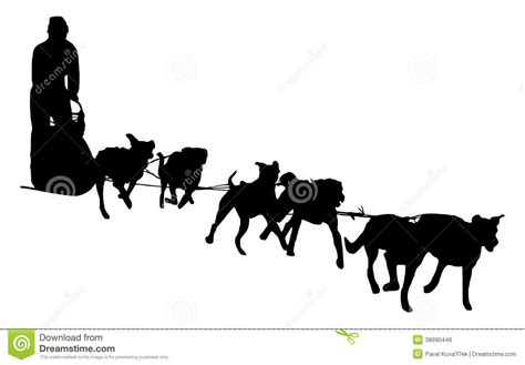 Dog Sled Silhouette On A White Background Stock ...