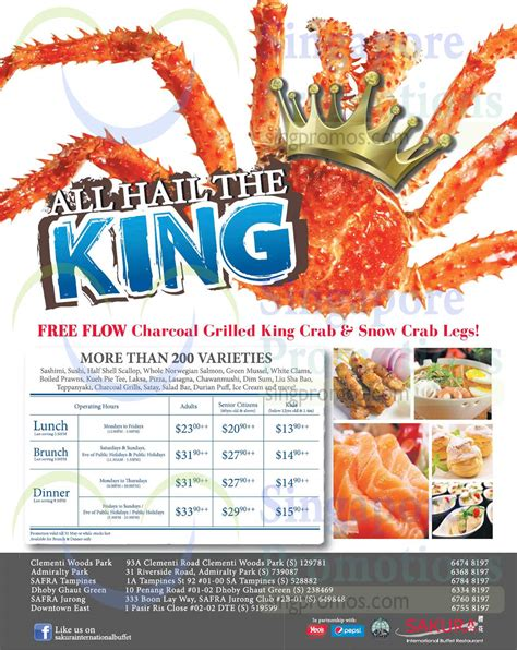 6 Apr Promotion Till 31 May Sakura Crab Buffet Ft