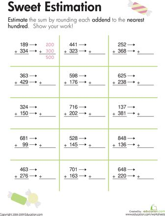 rounding sweet estimation math worksheets