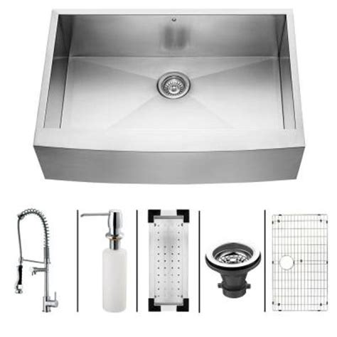 33x22 single bowl kitchen sink vigo all in one farmhouse stainless steel 33x22 25x10 0