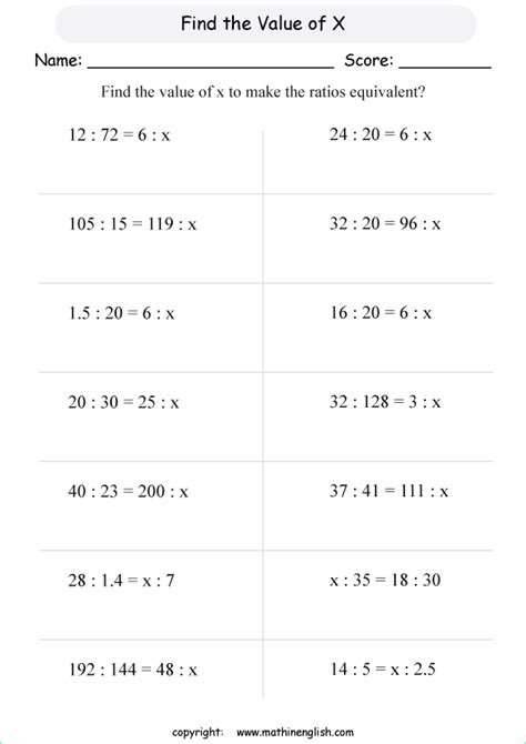 pleasing find x worksheets with math ratio and proportion