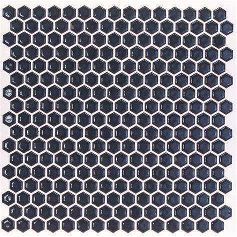 hexagon mosaic floor tile splashback tile bliss edged hexagon polished midnight blue ceramic mosaic floor and wall tile
