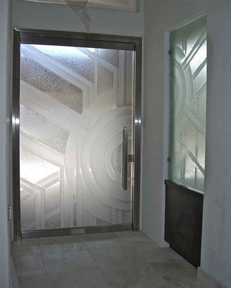 glass frameless etched glass entry glass