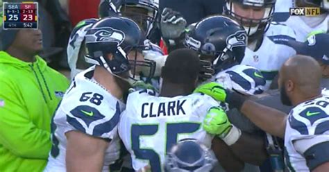 seahawks players fight     sideline