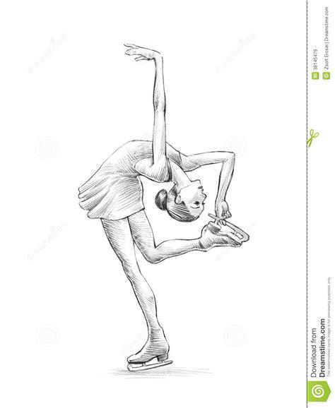 hand drawn sketch pencil illustration   figure skater