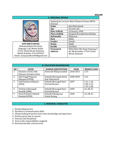 contoh resume in english